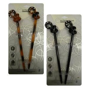 2-Hair-Sticks-2-Black-or-2-Tortoise-Colored-Hair-Chopstix-Knot-Design-on-Top