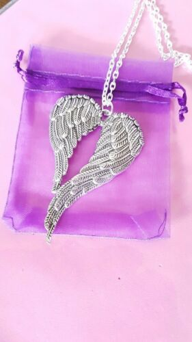large double angel wings pendant necklace 20 inch silver plated chain