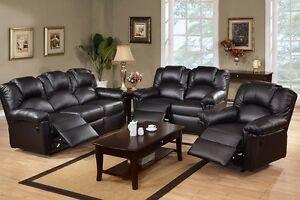 Image Is Loading Black Motion Sofa Set 3 Pc Leather