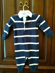 Baby Boy Infant Ralph Lauren Rugby Stripe Romper Outfit Polo Logo Size 6 Mo Navy Ebay