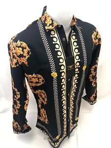 Mens PREMIERE Long Sleeve Button Down Dress Shirt BLACK GOLD LEAF ABSTRACT 207