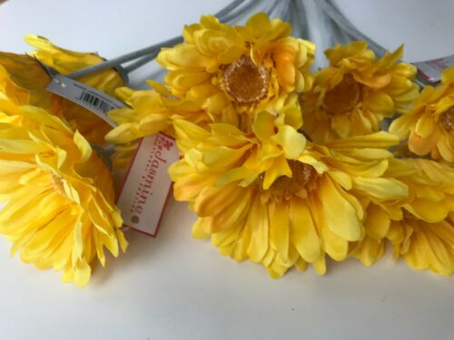 Pack of 10 Artificial Yellow Gerbera Stems 45 cm Tall Faux Flower  Daisy