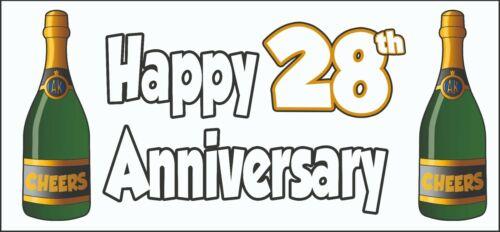 Joyeux 28th Anniversaire Bannière x2-Décorations de Fête Mariage Fêtes Evénements