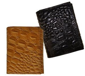 Genuine-Leather-Mens-Trifold-Croc-Wallet-Croco-Embossed-Alligator-Skin-Print