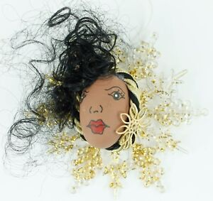 African Woman Face Gold Snowflake Christmas Ornament Holiday Decoration