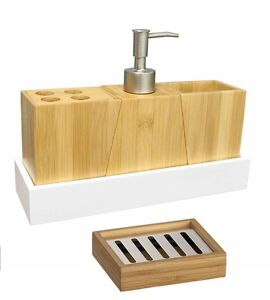 Bathroom accessory set bamboo wood soap dish dispenser tumbler toothbrush holder ebay - Bathroom soap dish sets ...