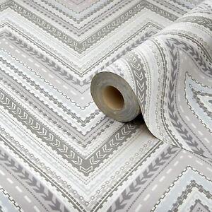 Details About Grandeco A32503 Pandora Chevron Stripe Wallpaper Grey Metallic Matte Finish