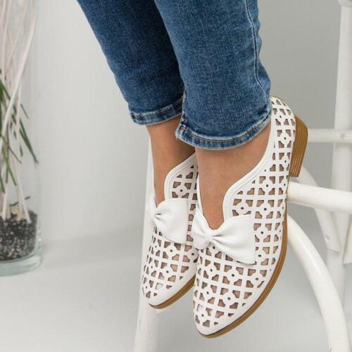 Damen Sommer Schuhe Slip On Hohle Schleife Halbschuhe Ballerinas Slipper Loafer