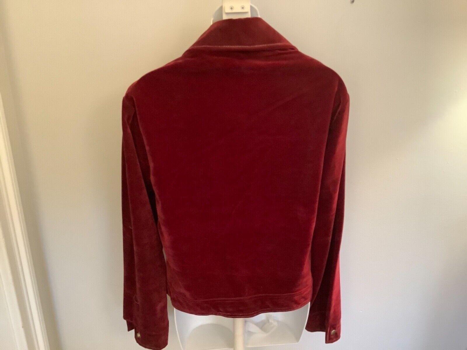 VINTAGE Women's Burgundy Red Velvet Blazer Jacket… - image 4