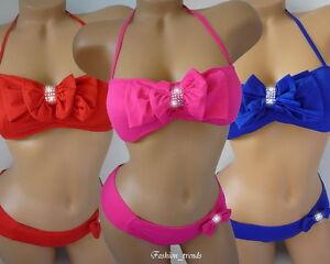 Glitzer Strass Neckholder Bikini Badeanzug mit Schleife*XS S M L-34 36 38 40