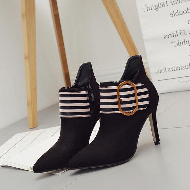 Bottes basses talons aiguilles 10 cm noir blanc élégant comme cuir 9565