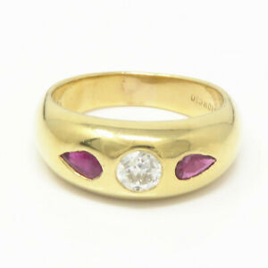 NYJEWEL-Giorgio-Visconti-18k-Yellow-Gold-0-85ctw-Natural-Ruby-amp-Diamond-Ring
