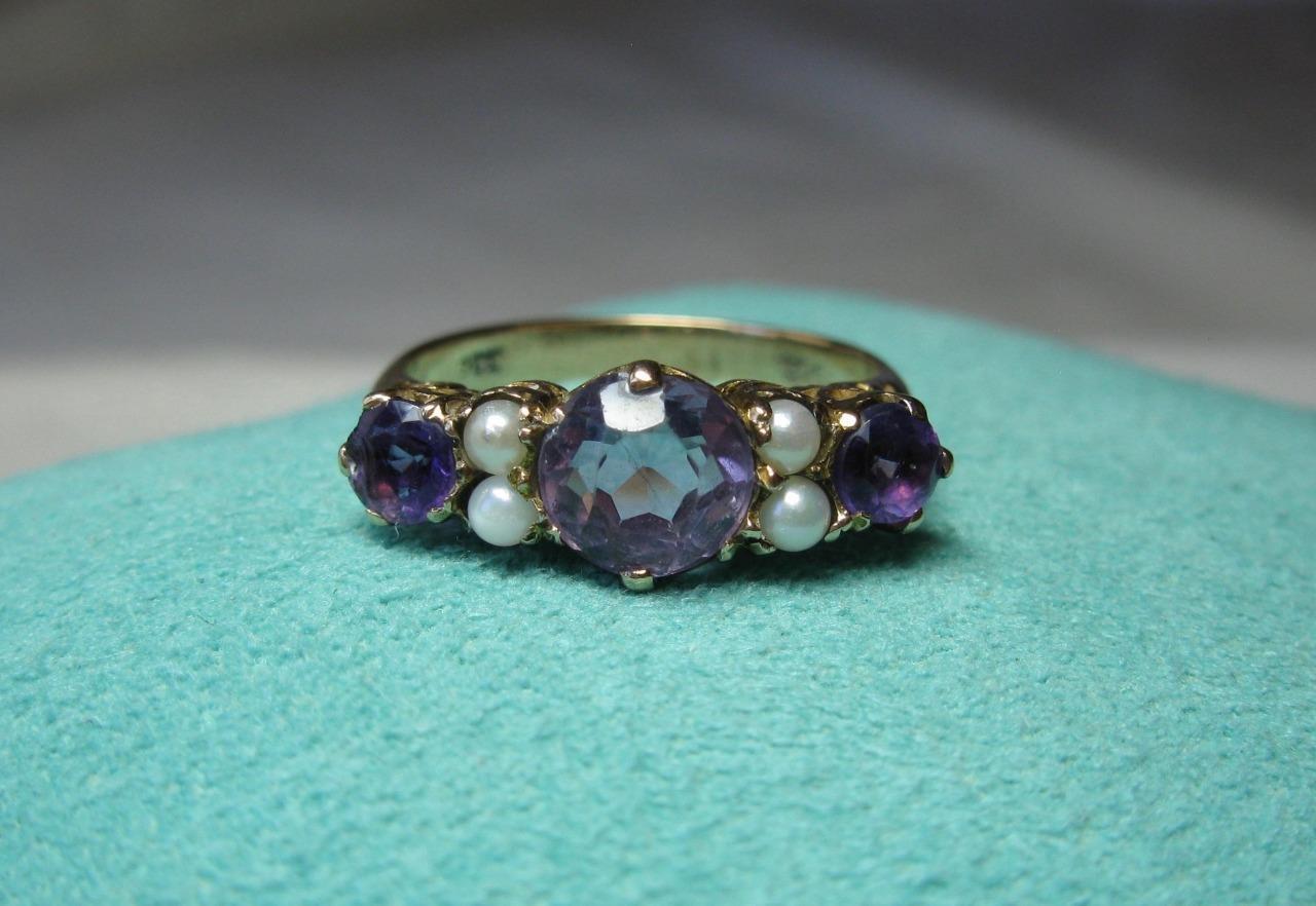 Amethyst Pearl Ring Victorian Belle Epoque Art Deco Wedding Engagement gold