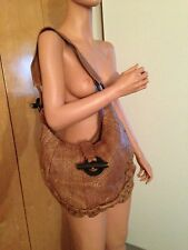 RED BY MARC ECKO BROWN LEATHER LIKE AND WOODEN SHOULDER HOBO TOTE HAND BAG PURSE