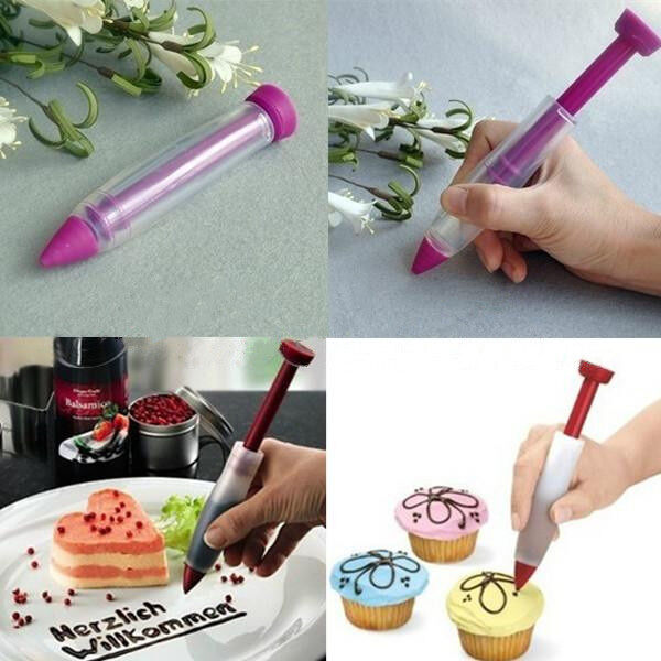 Cake Cookie Pastry Cream Chocolate Decorating Silicone Plate Syringe Pen ET00223