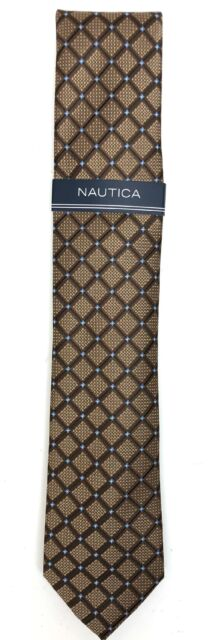 Nautica Men's Black Pequot Slim Grid Neck Tie, Brown - NEW