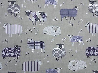 Baa Baa Sheep Lavender Curtain Craft Upholstery Designer Fabric