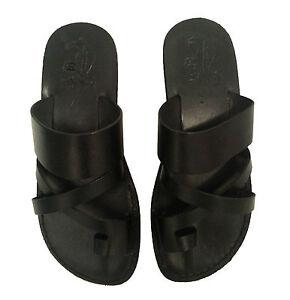 36d1e27da2e74 Details about Women Black Leather Sandals Biblical Shoes Summer Beach Toe  Flat Flip Flops 2-7