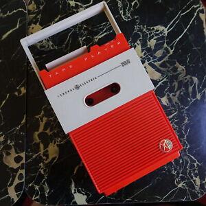 RARE Vtg 1967 GE G3700 Space Age Mod ORANGE Cassette Tape Player Portable Audio