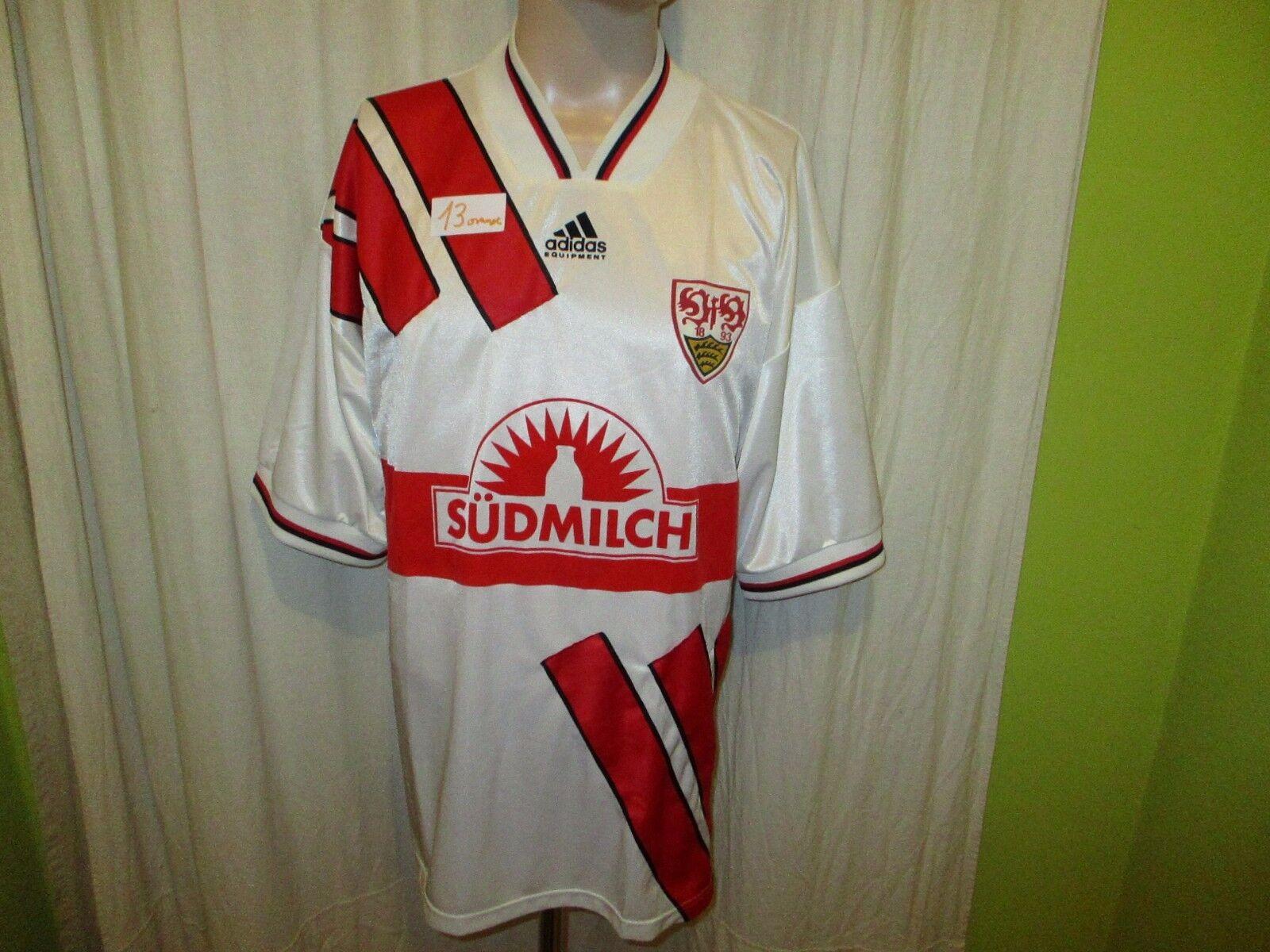 VfB Stuttgart Adidas Heim Trikot 1994 95  Südmilch  + Handigniert Gr.XL TOP