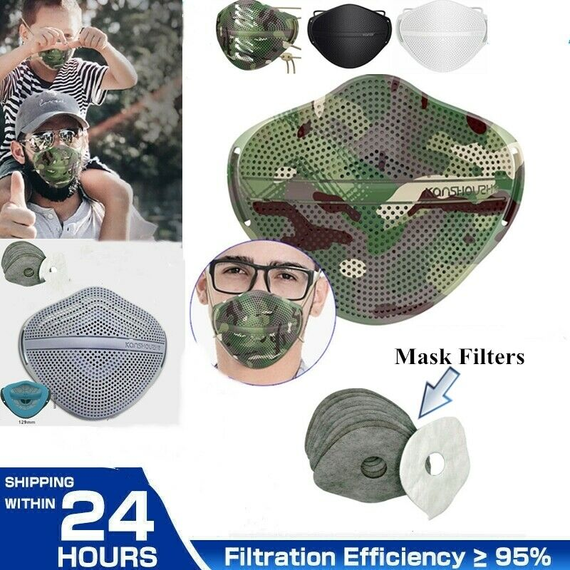 Washable Separate Nose Mouth Reusable Mask & Carbon Filter Purify Protection US