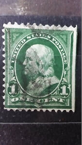 Rare-RRR-Green-line-Cut-Inperforated-1-cent-Franklin-Us-Stamp-Timbre