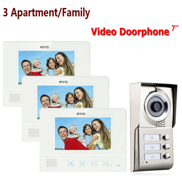 Apartment 3 Units Wired Video Door Phone Audio Visual Entry Intercom