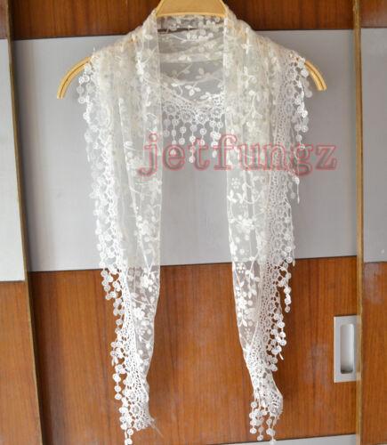 Lace Sheer Floral Imprimé Triangle Voile Church Mantilla écharpe Châle Wrap Tassel 15