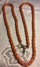 """Vintage 34"""" Jewelry Coldwater Creek Orange & Gold  Necklace R-41"""