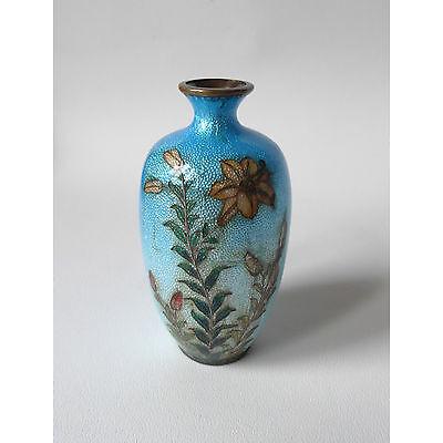 Ancien petit vase en cloisonné JAPONAIS TSUIKI-JIPPO FLEURS JAPON 19ème (1)