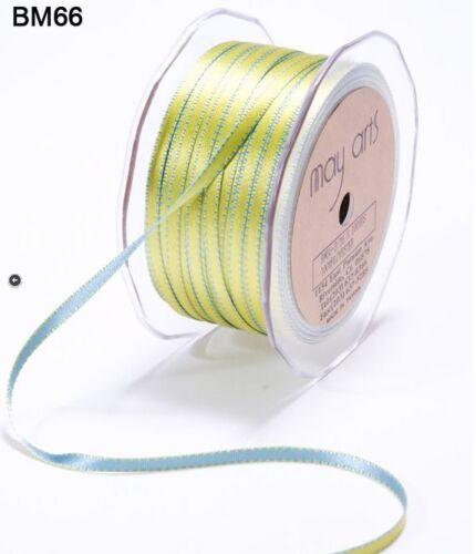 "Blue//Green BM66-5 Yards 3//16/"" Satin Reversible Stitched Edge Ribbon"