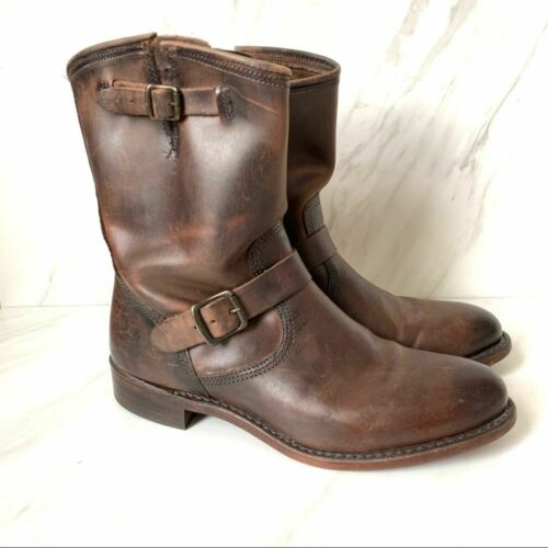 Frye Engineer Leather Buckle Strap Boots 8.5