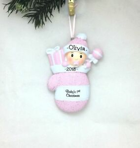 2018-Pink-Girl-Mitten-Personalized-Christmas-Ornament-New-Baby-039-s-1st-Christmas