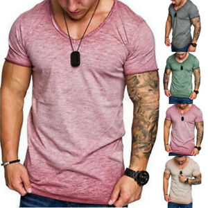 Summer-Men-Slim-Fit-V-Neck-Short-Sleeve-T-Shrit-Work-Gym-Sports-Tops-Blouse