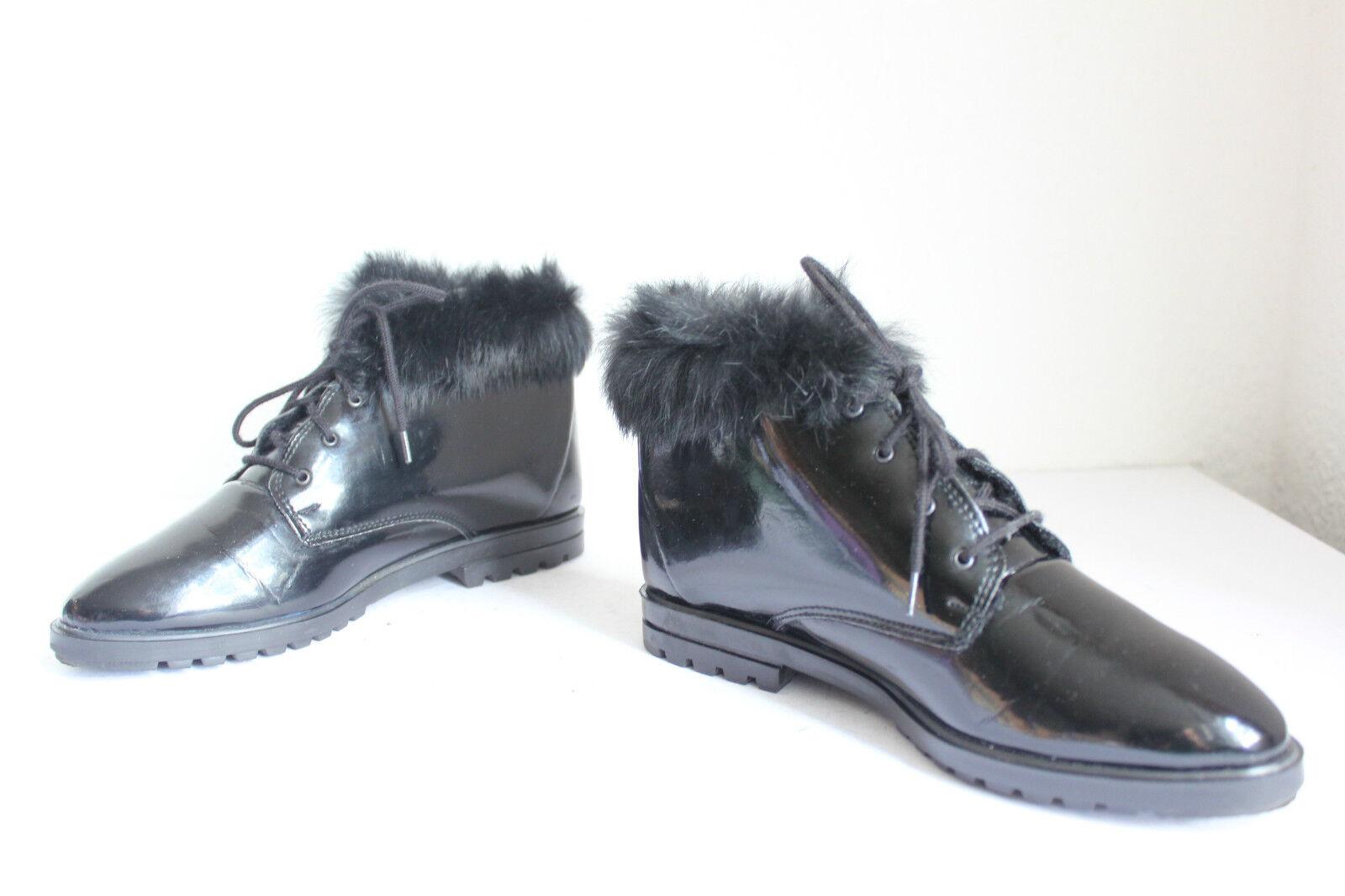 Talisa Elegante Winter Boots Schnürstiefeletten Echt Lackleder black Eu 36,5