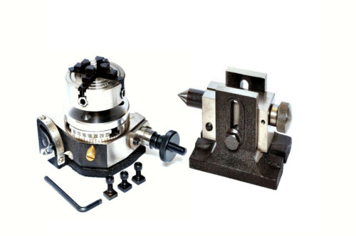 """BACKPLATE ROTARY TABLE 3/"""" TILTING TAILSTOCK 70 MM INDEPENDENT CHUCK"""