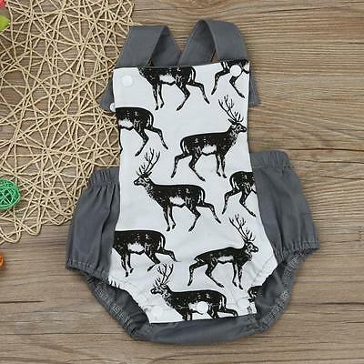 Newborn Infants Baby Boys Girls Elk Romper Jumpsuit Sunsuit Kids Clothes Outfits