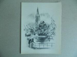 XIXe ancien dessin à l'encre de chine scène de vie à la ville