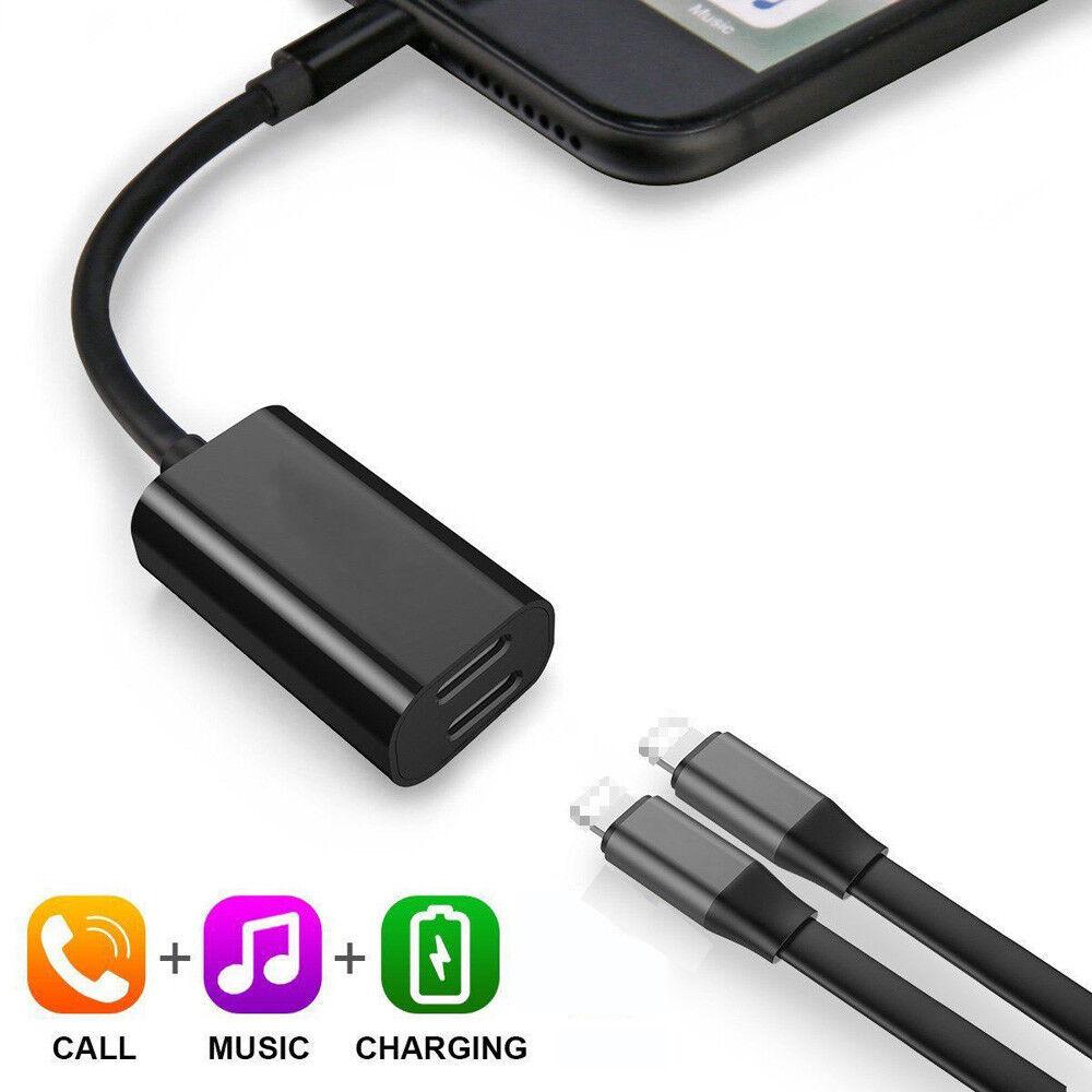 pour iphone 7 8 adaptateur et splitter double lightning casque audio chargeur ebay. Black Bedroom Furniture Sets. Home Design Ideas