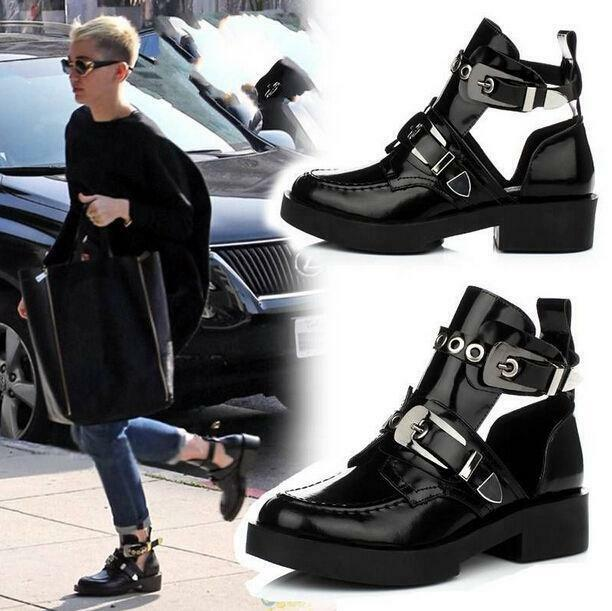 Punk Cowboy Buckle Women Women Women Round Toe Cut Out Chunky Heels Oxford Ankle Boots shoes e2b8c1