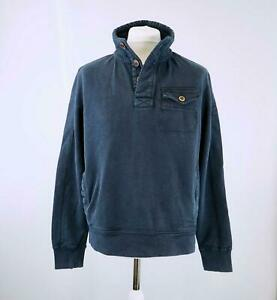 New-Fat-Face-Men-039-s-Navy-Blue-Half-Button-Washed-Jumper-Sweatshirt-XS-XXL
