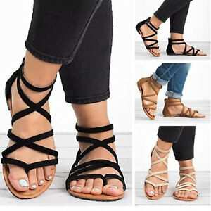 Womens-Gladiator-Sandals-Shoes-Thong-Flops-T-Strap-Flip-Flats-Size-Strappy-Toe