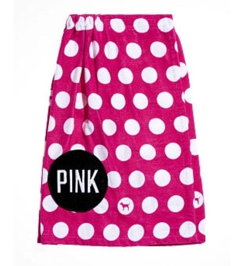 Victoria's Secret Pink Polka Dot Pink Wrap Towel New