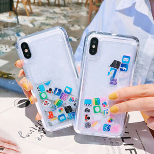 Creative App Icon Quicksand Bling Case For Iphone Hard Pc Clear Phone Cover Eb Ebay