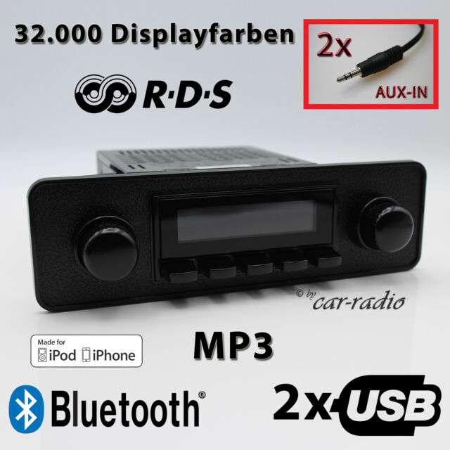 Retrosound Long Beach Komplettset Model Two Black Optik 1-DIN Oldtimer Radio RDS