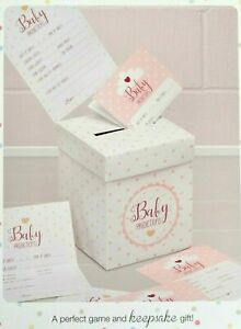 Baby Dusche Vorhersage Karten & Box. Karten für Gäste zum Ausfüllen in pink