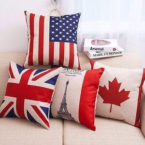 "18/""Modern Square Cotton Cushion Cover Throw Pillow Case Home USA Flag Sofa Decor"
