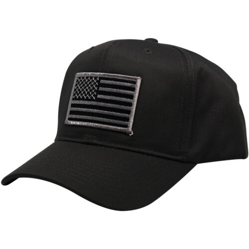 Subdued Grey American Flag Embroidered Iron On Patch Ball Cap 3 Colors