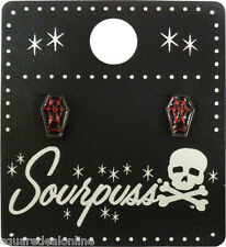 60109 Black & Red Coffin Spiderweb Earrings Sourpuss Casket Goth Punk Rock Dark