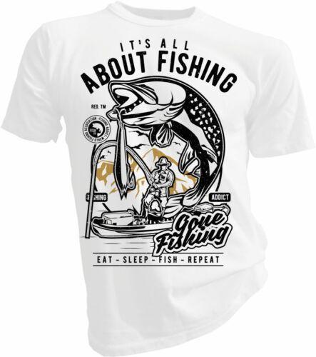 Angling Fish Its All About Fishing Fisher Man Hooks Unisex /& Kids T-Shirt